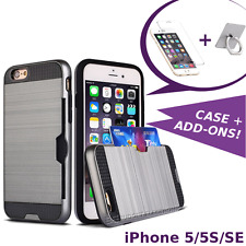 iPhone 5 5S SE Hybrid Case Shockproof Cover Credit Card Slot + Screen Protector