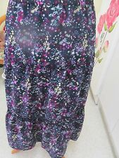 LADIES NAVY WITH PINK MULTI FLOWERED SKIRT FULL ELASTICATED WAIST TIERED STY
