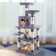 """58"""" Pet Kitty Play House Cat Tree Tower Condo Furniture Scratching Post Gray Bed"""