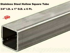 Stainless Steel Hollow Square Tube 34 Id X 1 Od X 6 Ft Long 12 Wall