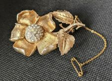 Vintage Paste Coro Craft Rhinestone Hidden Watch Flower Brooch - Working