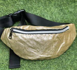 Unbranded Metallic Gold Glittery Bum Bag With Front Zip Opening