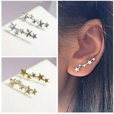 Star Stud Earring Ear Climber Cuff Silver/Gold Tone Ear Crawler Earring UK