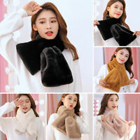 Women Winter Thicken Plush Faux Rabbit Fur Scarf Solid Neck Collar Shawls Wraps