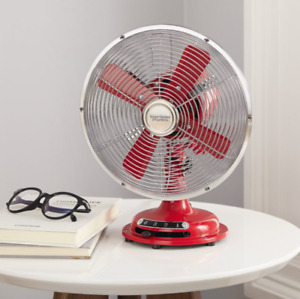 8 Inch Retro Styled Vintage Looking 3 Speed Settings Metal Table Small Desks Fan