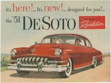 1951 Red Desoto Custom Original 8x11 Print Ad w Reverse Mt Vernon Rye Whiskey Ad
