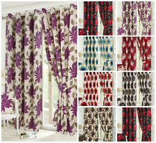 Poppy Seren Floral Luxury Curtains Pair Fully Lined Eyelet Top With Tie Backs