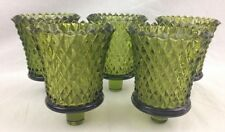 5 Homco Avocado Green Diamond Point Votive Candle Cups Home Interiors