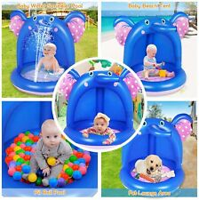 Inflatable Baby Pool, Elephant Baby Splash Pool with Canopy Extra Soft