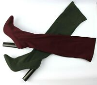 LADIES WOMENS STRETCH LONG  LYCRA SOCK OVER THE KNEE THIGH HIGH STILETTO BOOTS