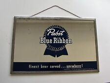 """Vintage Pabst Blue Ribbon Beer Mirror Advertising Sign 18"""" x 12"""" - BEECO Chicago"""