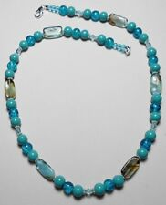"turquoise glass beads, crackle glass beads 20.5"" necklace"