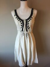 Free People Boho Beaded Sleeveless Tie Waist Cotton Festival Dress Sz 6