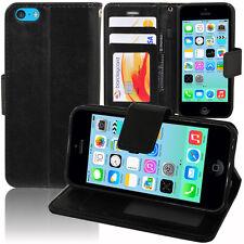 Etui Coque Housse Portefeuille Support Video Cuir NOIR Pour Apple iPhone 5C