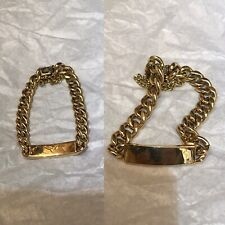 Antique Style 18ct Yellow Gold Identity Bracelet Curb Link Chain & Plaque 44.8gr