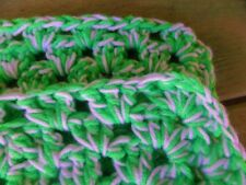"""Handmade Afghan - Knot Circles - Christmas Candy Green and White - 40"""" x 45"""""""