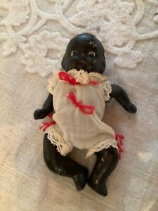 """Vintage Miniature Black African American Doll 3 1/4"""" Jointed"""