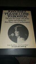 Joan Baez Please Come To Boston Rare Original Promo Poster Ad Framed!