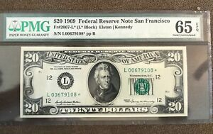 1969 STAR , $20 federal reserve note ,San Francisco  , uncirculated , PMG 65 EPQ