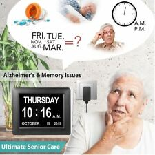 "7"" LED Dementia Digital Calendar Day/Week/Month/Year Clock Alarms Large Letter"