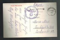 1941 Dusseldorf Germany Feldpost RPPC Postcard Cover to Frankfurt Hotel Germania