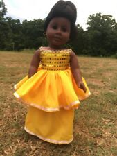 """Fits American 18"""" Girl Doll Clothes Ruffled party Prom Dress Off the Shoulder"""