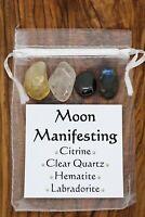 Moon Manifesting Crystal Gift Set Hematite Clear Quartz Labradorite Citrine
