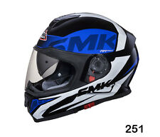 SMK Helmets-Twister - Logo Black Blue White - Full Face Dual Visor Bike Helmet-M