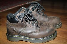 Men's Dr Doc Martens Industrial Steel Toe Leather Work Boots Shoes Brown Size 6