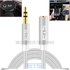®ETS 1M 3.5mm Jack AUX Audio Cable Male To Female Extension PC Laptop iPod Lead