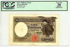 """Italy ... P-24a ... 25 Lire ... 1923 ... *VF* ... SERIE 074 """"R3"""" ... PCGS20 (VF)"""