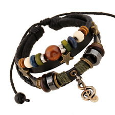 Unisex Multilayer Leather Beads Note Star Accessories Bracelet Wristband Bangle