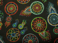 DREAM CATCHERS NATIVE AMERICAN BEADED LIKE BRIGHT COLORS COTTON FABRIC BTHY