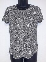 Who What Wear Women's Black & White Floral X-Small T-Shirt Top