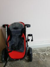 Phil and Teds vibe Double pram with a double Sun cover - black with red