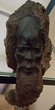 OLD African Iron Wood Carved Tree Stump Old man Sits on Shelf Zimbabwe