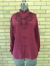 Vintage Chinese Hand Embroidered Silk Blouse Burgundy Dark Berry Red Size 40