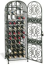 Stackable Rustic Wrought Iron Metal Wine Bottle Rack Jail Cabinet Shelves Bronze