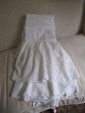 COTTAGE WHITE BIG & WIDE EYELET LACE FULL BEDSKIRT  #16