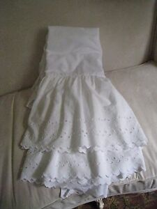 COTTAGE WHITE BIG & WIDE EYELET LACE FULL BEDSKIRT  #16