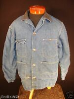 VINTAGE 1950'S WARDS BLUE DENIM RAILROAD JACKET SIZE 46