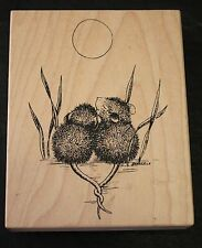 Stampa Rosa House Mouse 4 Together Under Moon Love 1997 Rubber Stamp Wood Mount