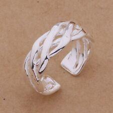 925 Silver Adjustable Womens Toe/Thumb Ring. Braid Design