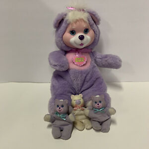 Vintage Hasbro Purple Baby Cub Surprise with 3 Cubs
