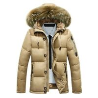 Men Duck Down Jacket Fur Hooded Coat Outwear Puffer Parka Thick Winter Ski Warm