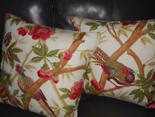 Lee Jofa new Throw pillows CEYLON Linen printed bird floral Custom Designer PAIR