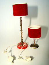 LUNDBY Vintage Red Velvet Lamps Floor & Table Dollhouse Miniatures Brass Base