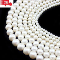 """Wholesale Natural Cultured Freshwater White Pearl Round Loos Beads 14.5"""" Strand"""