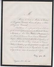 1866 FAIRE-PART DÉCÈS Marie-Victoire MAHÉ de LA BOURDONNAIS - de GRIMOARD
