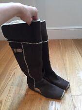 Replay dedo del pie cuadrado plano Botas. pliegue sobre la parte superior de gamuza y forro de piel de cordero UK5.